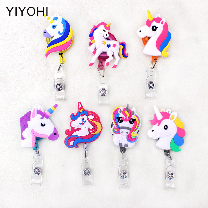 Newest 1pcs Cute Unicorn Retractable Badge Reel Card Holder Student Nurse Exhibition ID Name Card Badge Holder Office Supplies