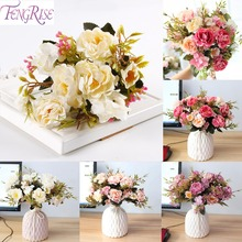 FENGRISE Artificial Peony Flower Fake Silk Flowers Bouquet Small Rose Wedding Party Decoration
