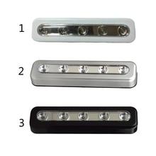 Wall Lamp 1PC  Potable 5 LED Closet Lights Battery Powered Wireless Cabinet Night Light Stick On Battery Power Bright