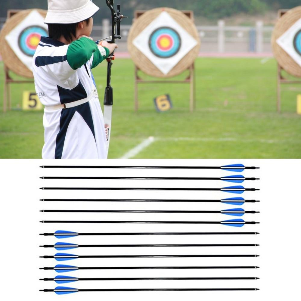 12pcs 80cm Length Fiberglass Arrow Arrowhead Spine 30-80ibs For Archery Recurve Compound Bows Hunting Shooting Target Practice