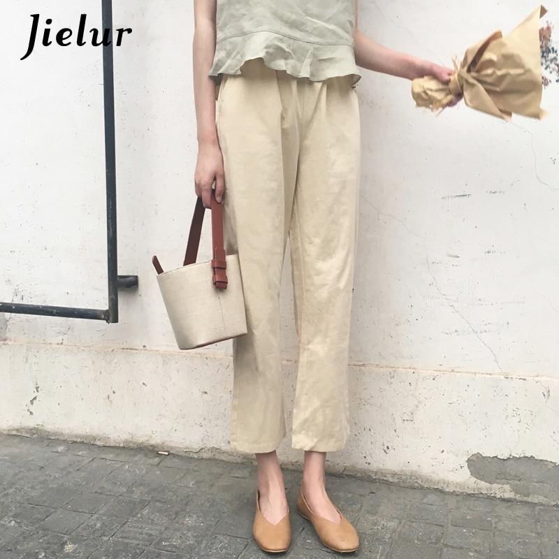 Jielur Solid Color Apricot   Wide     Leg     Pants   Women Korean Style Brief All-match Chic Harajuku   Pants   Loose High Waist Pantalon Femme