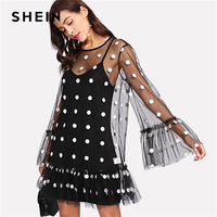 SHEIN Women Party Dresses Black And White Long Sleeve Ruffle Hem Dress Exaggerate Flounce Sleeve Polka