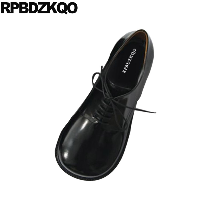 Vintage Women Oxfords Shoes Lolita 2018 Ladies Lace Up Spring Autumn Japanese School Round Toe Flats Black Genuine Leather asumer white spring autumn women shoes round toe ladies genuine leather flats shoes casual sneakers single shoes