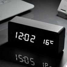 47f84a5b2 Simples de Madeira Preguiçoso Despertador Mudo Digitais Eletrônico  Inteligente Eletrônico Display LED Digital Desktop Clock 12