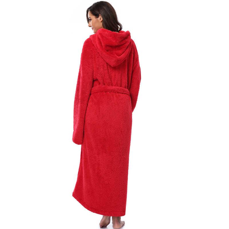 db9218daf0 ... Winter Thick Warm Women Robes 2018 Coral Fleece Sleepwear Long Robe  Woman Hotel Spa Plush Long ...
