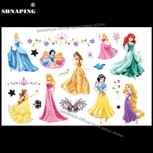 SHNAPIGN Snow White Cinderella Child Temporary Tattoo Body Art Flash Tattoo Stickers 17x10cm Waterproof Henna Styling Sticker