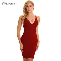 Ocstrade Sleeveless Sheath Bodycon Dress 2017 Summer Party Dress New Womens Sexy Deep V Rust Rib