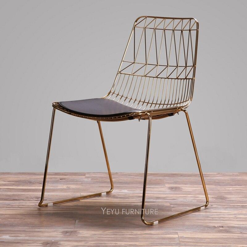 classique fil chaise or rose ou or couleur fil chaise metal fil cote salle a manger chaise loft style moderne meubles 1pc