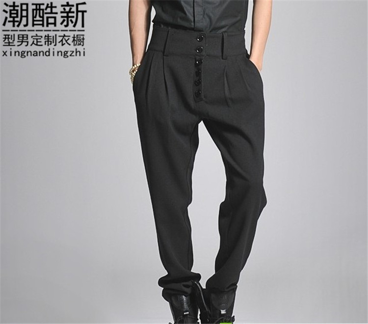 27-44!!Plus size boys male boot cut jeans breeched high waist harem casual trousers trousers