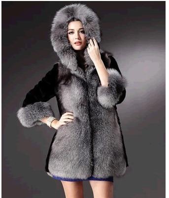 0c26a60333a 2017 nuevas mujeres Cuero no original zorro abrigo chaqueta de pelo con  sombrero de invierno cálido