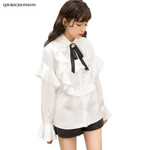 Spring Autumn Elegant Ladies Bow Tie Tops Long Flare Sleeve Kawaii Ruffle Satin Blouse Korean Fashion White Shirt Women