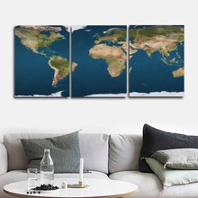 Laeacco Canvas Calligraphy Painting Abstract 3 Panel World Map Globe Poster and Print Nordic Home Living Room Wedding Decor