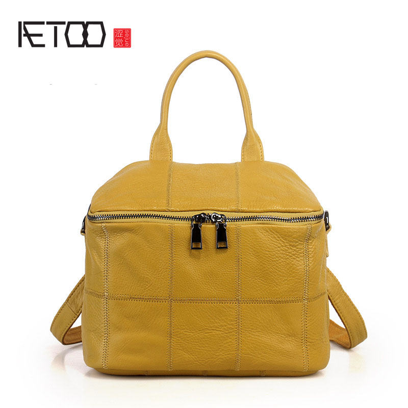 AETOO Female bag first layer of leather ladies bag Korean fashion travel small square bag bag female new genuine leather handbags first layer of leather shoulder bag korean zipper small square bag mobile messenger bags