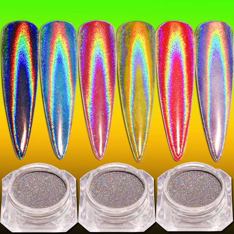0 2g Laser Powder Holographic Glitter Nail Glitter Powder Holo Rainbow Chrome Mirror Powder Dust Nail Art Decor in Nail Glitter from Beauty Health