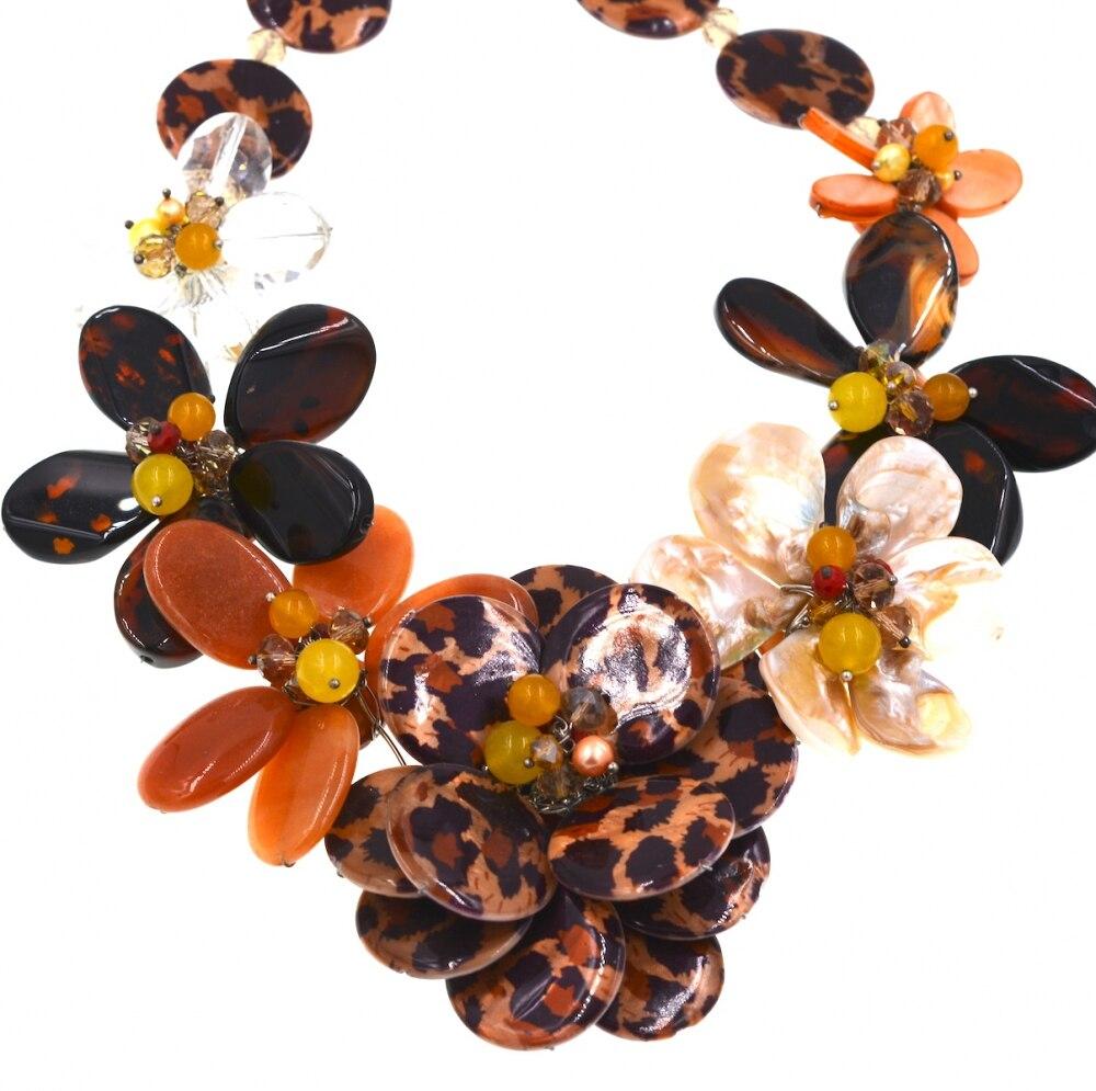 Эксклюзивный Leopard кожи СС оболочки achat нагрудник цветок ожерелье-ошейник ювелирный бренд 2017