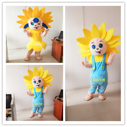Sunflower Mascot Costume Adult Size Fancy Dress Christmas Cosplay for Halloween party event