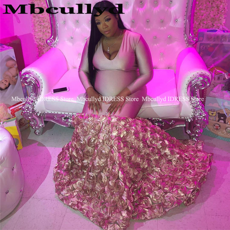 Dusty Pink Mermaid 3D Rose Flowers Prom Dress for Black Girls Deep V-neck Long Sleeves African Formal Evening Dress Plus Size