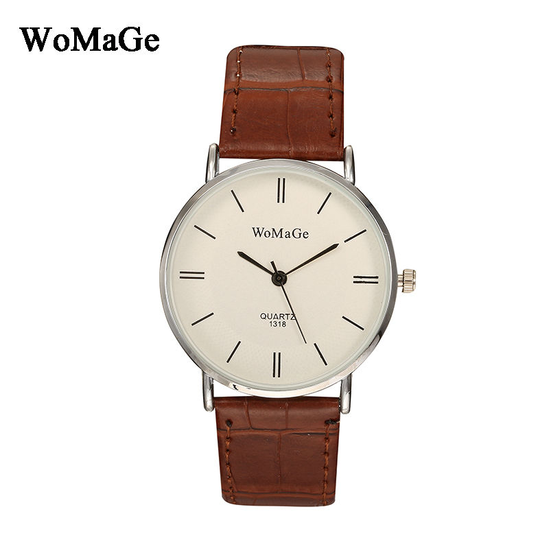 Mens Watches Top Brand Luxury Womage Fashion Casual Man Business Leather Strap Analog Watch Simple Quartz Wristwatch Men Relogio tomi men s watches 2017 new hot brand watch fashion leisure women quartz watch men luxury leather strap wristwatch relogio gift