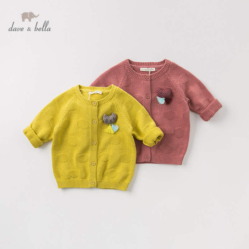 DBM10857 dave bella autumn infant baby girls fashion cardigan kids toddler coat children cute cat solid knitted sweater