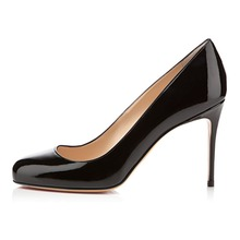 Amourplato Women's Ladies Handmade Fashion Feifei 85mm Round Toe Simple Office Pumps Shoes Two Colors