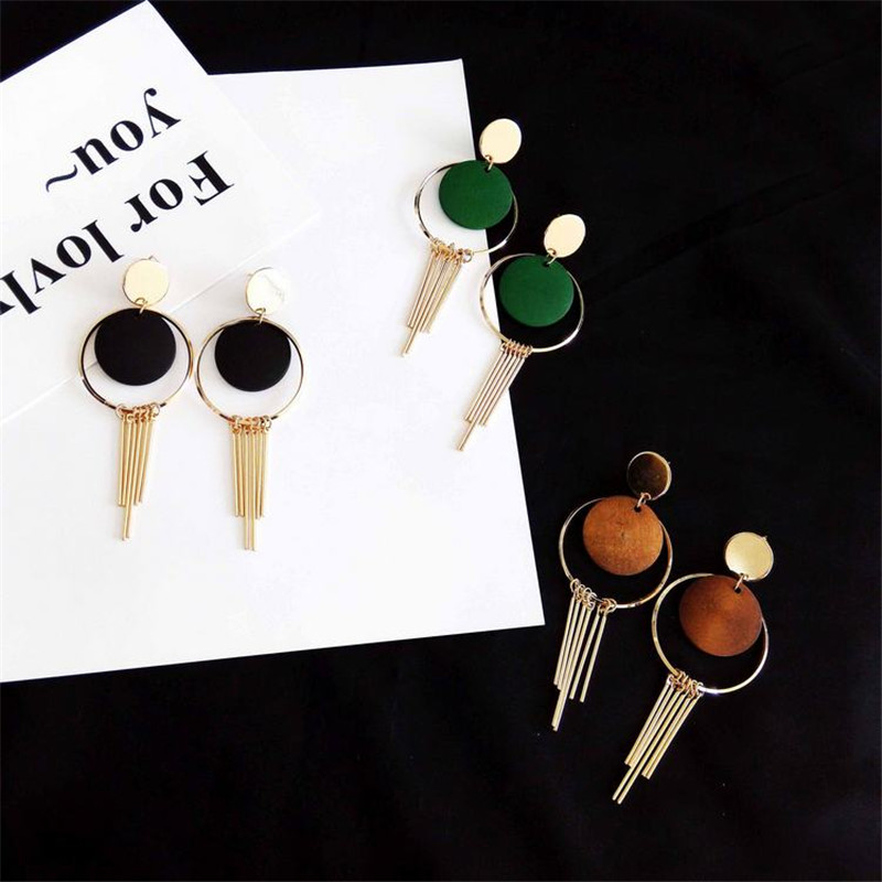 Contracted and round, long tassel earrings wood Female accessories The girl a gift
