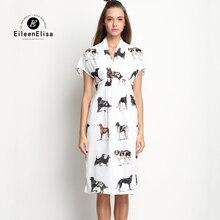 Luxury Dresses 2017 Summer Runway Womens High Waist Midi Dress Animal Print