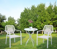 HLC 3 Piece Bistro Patio Furniture Set With Glass Top Table And 2 Rattan Chairs