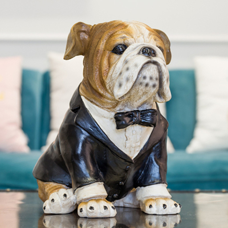 Newly Married Bulldog TV Cabinet Decoration Nordic Wine Cabinet Home Living Room Resin Jewelry Creative Couple Gift M1972