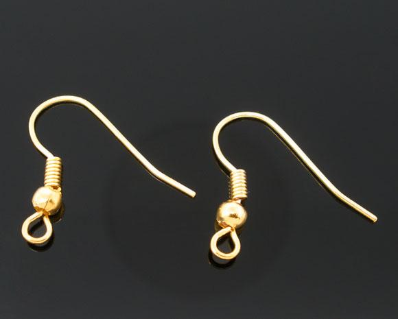 DoreenBeads Zinc metal alloy Earring Components Hooks Twist Gold Plated 18mm(6/8
