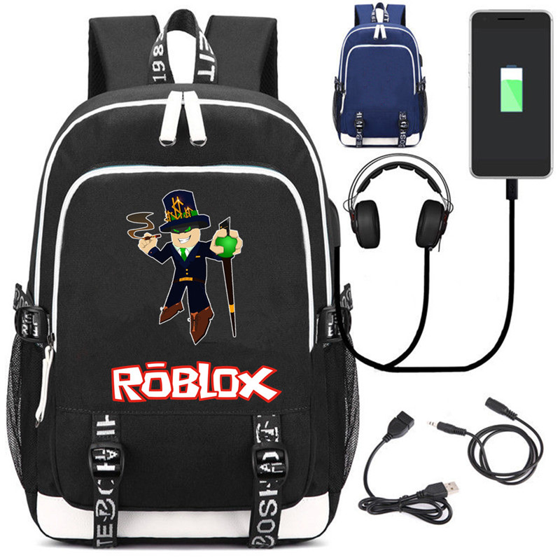 Game of roblox USB Charging Headphone Backpack Teenagers Schoolbag Unisex Travelbag Multifunction Daily Rucksack