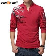 Covrlge 2018 Spring Men T-shirt 100% Cotton Comfortable Male Long Sleeve Tee Shirt Fashion V-neck Print T-shirts Fitness MTL089
