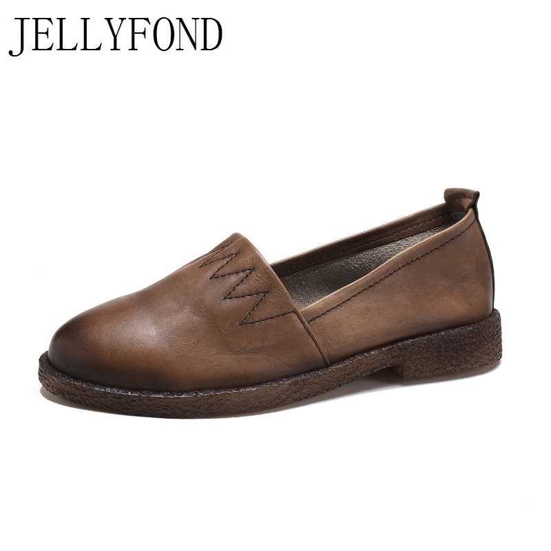 Handmade Genuine Leather Driving Shoes Woman Round Toe Slip on Soft Comfortable Loafers Designer Retro Female Flats Big Size handmade women loafers round toe genuine leather flats female soft moccasin gommino breathable boat shoes chaussure xk052506