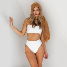2019 Summer Bandeau Bathing Suit Solid Strapless Swimwear Women Push Up High Waist Sexy Bikini Set Off Shoulder Padded Swimsuit high quality off shoulder solid sexy women bikini swimwear plaid high waist swimsuit summer beach hot girl pool bathing suit