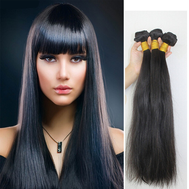 "Ring  Cabelo Humano Hair weaving Weft 16"" - 30"",  Straight, 100g/pcs Natural Color 1B# Pelo Humano Hair Weaving, Free Shipping"