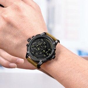 Image 5 - Megir Chronograaf Sport Quartz Horloge Mannen Dual Time Zone Mannen Horloges Creatieve Lederen Militaire Horloges Klok Uur