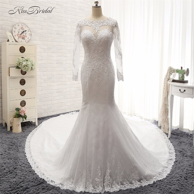 New Fashion Long Sleeve Wedding Dresses With Long Tail Vintage lace ...