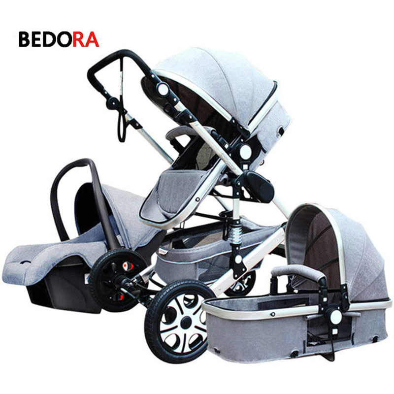 Bedora High landscape stroller can sit and lie down folding light can sit and lie down newborn summer two way four wheel babythrone baby stroller portable folding stroller can sit and lie down widen and widen the four wheel shock absorbers