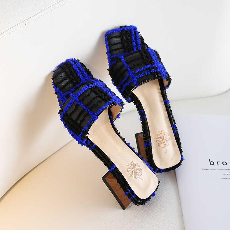 BEIJO Molhado Incomuns Chinelos mulheres De Salto Alto Do Dedo Do Pé Aberto Desliza Sapatos calçados De Moda Feminina Malha Mulas sapatos De Verão mulher 2019 nova
