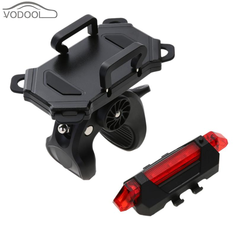 Bicycle Handlebar Phone Mount Bike Handle Bar Holder Bracket Rechargeable LED Flash Strobe Night Warning Tail