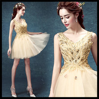 2015 Dignified&Elegant&Limelight Gold Backless Bride&Party&Banquet Evening Gown V Neck Above knee MINI Dress for Bride WD 2409
