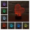 AMOR de siete colores 3D visual del interruptor táctil lámpara de acrílico lámpara de Noche de Luz LED Para Los Niños Lámpara de Mesa Led de Luz de La Noche