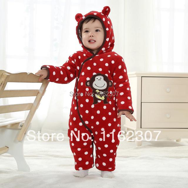 Envío gratis alta calidad niños de invierno mono con sombrero gruesa chico pijamas para bebés de invierno