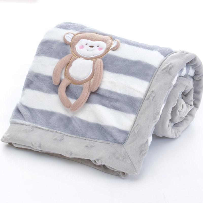 Image 3 - Двухслойное детское одеяло с мультяшным животным, теплое Хлопковое одеяло для новорожденных, покрывало для колясок, детское зимнее одеялоОдеяла и пеленки   -