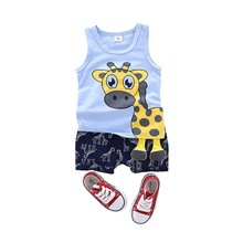 Fashion Summer Baby Boys Girls Clothes Cartoon Vest Shorts 2pcs/Sets Child Toddler Clothing Infant Tracksuits Children Costume free shipping 2017 summer female baby girls shorts sets infant fly sleeve vest 2pcs suit lollipop