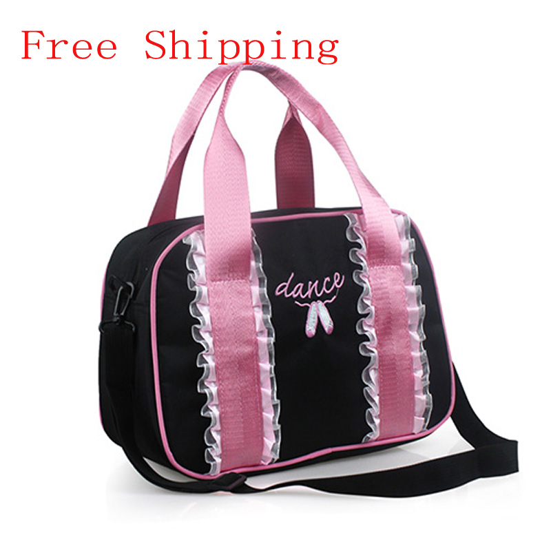 Free Shipping New Pretty Black/Pink Dance Embroidered Ballet Shoes Ballet Bags Girls Adult Kids Lace Dance Bags