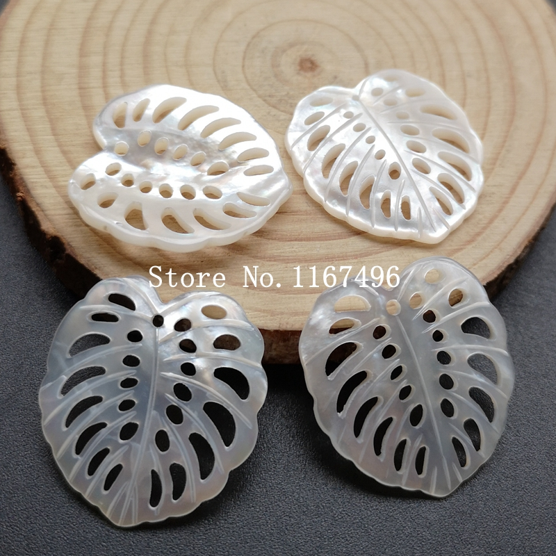 20pcs lot 24x26mm 100 Natural Hollow Leaf pearl MOP Beads Leaf Mother of Pearl Shell Beads