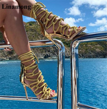 Brand Design Women Fashion Open Toe Ropes Straps Cross Stiletto Heel Gladiator Sandals Gold Blue Pink High Heel Sandals Shoes недорого