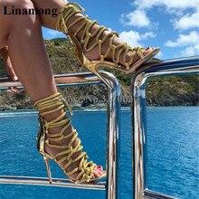 Brand Design Women Fashion Open Toe Ropes Straps Cross Stiletto Heel Gladiator