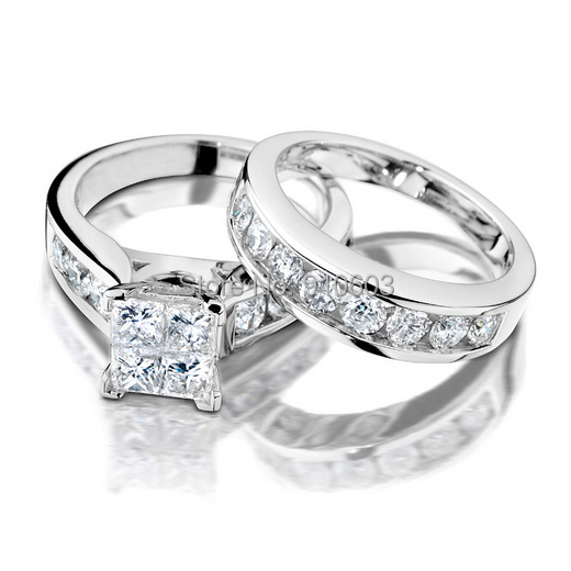 simple solid 9k white gold wedding set ring for women center princess cut simulated diamonds engagement