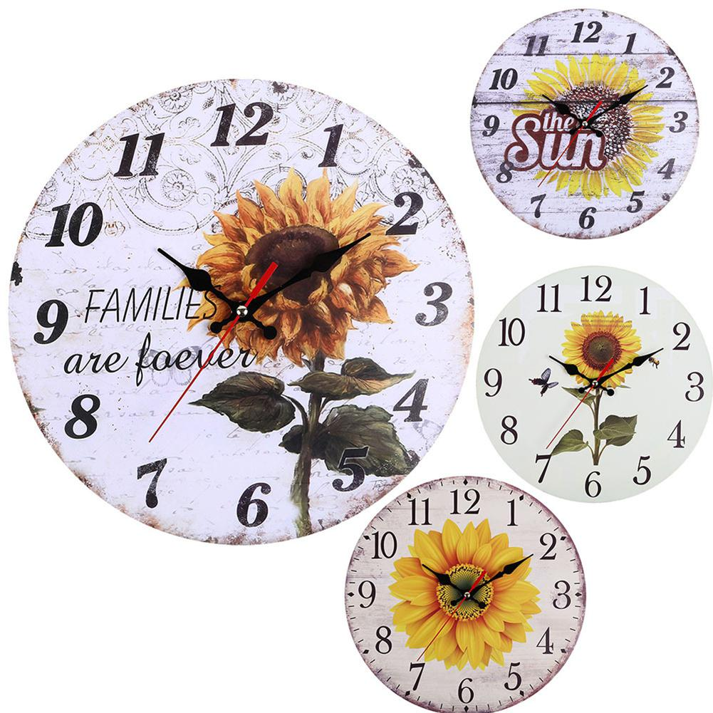 TPFOCUS 30CM Retro Pastoral Style Sunflower Pattern Wall Clock For Home Living Room Decor